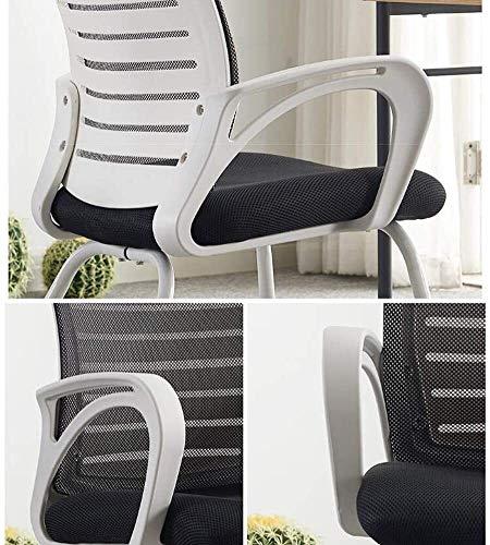 Fåtöljar GSN möte stolar kontor, korsryggsstöd spelkonferens andningsbar stol ergonomisk nät robust stålbas vadderad kontorsstol (storlek: vit)