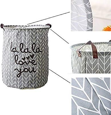 Kanggest Cubo Plegable de Lino y algodón Cesta para la Ropa Sucia ...
