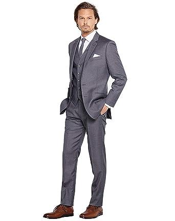 Homme Costume Élégant 3 Pièces avec 2 Bouton Tuxedo Slim Fit Classique  d affaires Mariage c8679eebe23