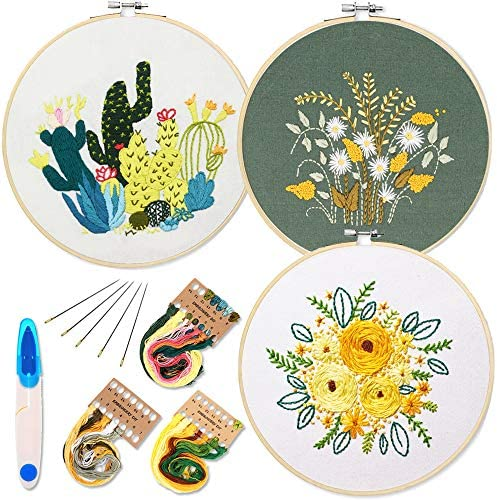 3 Pack Embroidery Starter Kit with Pattern and Instructions, Full Range of Stamped Embroidery Kits with 3 Embroidery Clothes with Plants Flowers Pattern, 1 Embroidery Hoops (Catus&Daisy)