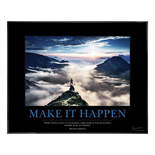 Successories .25 in. Black Aluminum Frame, No Mats - Make It Happen Mountain Motivational Poster