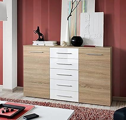 Camas y muebles - Aparador Abat en color Sonoma con cajones blancos ...