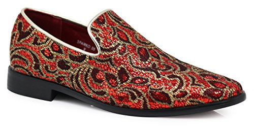 - SPK05 Men's Vintage Satin Silky Floral Print Embroidery Dress Loafers Slip On Shoes Classic Tuxedo Dress Shoes (9 D(M) US, Red)