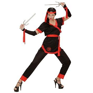 Amakando Original Vestuario de guerrera Ninja / Negro-Rojo ...