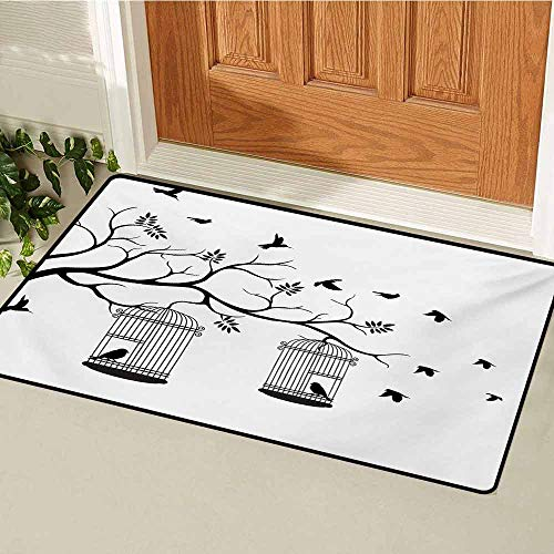 GUUVOR Nature Inlet Outdoor Door mat Modern and Romantic Themed Design Birds Cages Branches Leaves Artwork Print Catch dust Snow and mud W35.4 x L47.2 Inch Black and White