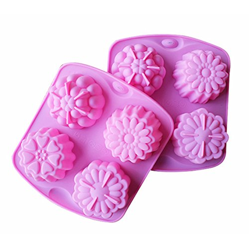 JLHua 4 Cavity Flower Silicone Cake Bread Baking Mold Cake Pan Muffin Cup Chocolate Candy Maker Mold,Ice Cube Tray (Chocolate Factory Maker compare prices)