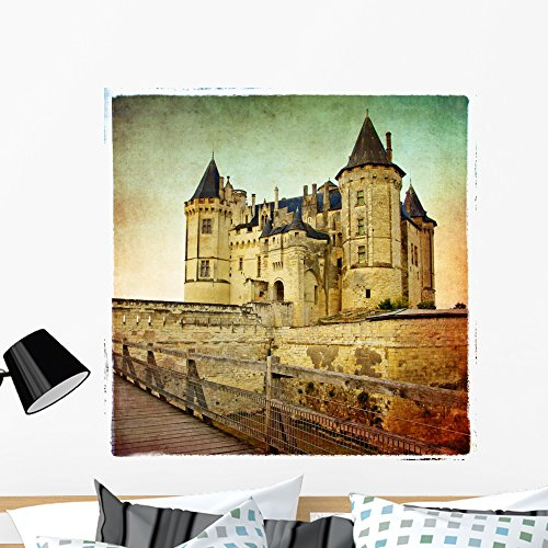 (Wallmonkeys Saumur Castle Retro Styled Wall Mural Peel and Stick Graphic (36 in H x 36 in W) WM274923)