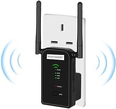 NightGhost WiFi Range Extender, 2.4GHz 300Mbps WiFi Booster Router inalámbrico Punto de Acceso Amplificador de señal Wi-Fi Hotspot Mini Router Ap Repetidor 2 Antenas externas -EUtype: Amazon.es: Electrónica