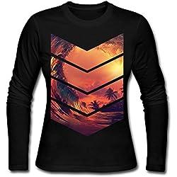 Sunrise Surfer Women's Tee Shirts,Long Sleeve Base Shirt Outer Clothing For Women