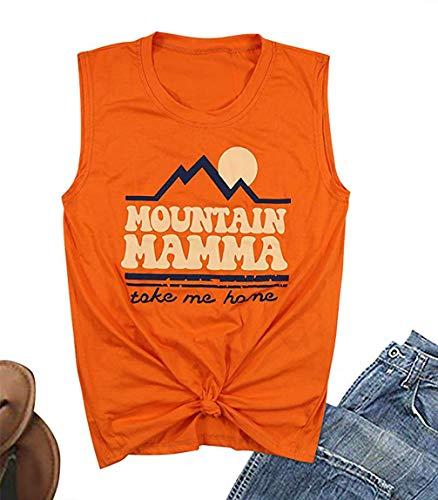 UNIQUEONE Mountain Mamma Take Me Home Tank Tops for Women Sunshine Graphic Tees Funny Letter Print Racerback Shirt Size M (Orange)