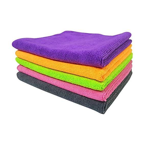 SOFTSPUN Microfiber Cloth - 5 pcs - 40x40 cms - 340 GSM Multi-Color - Thick Lint & Streak-Free Multipurpose Cloths