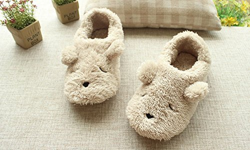 Footwear Heel Cartoon Soft Slipper Cover Sole Fuzzy Adorable Indoor Women's Cozy Beige amp; Boots Warm Bear Hwq4pfF