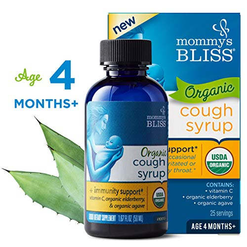 Mommy's Bliss Organic Baby Cough Syrup  + Immunity Support*, Baby Herbal Supplement Made From Organic Agave, Wild Cherry, Slippery Elm Bark & Vitamin C - 1.67 Fl Oz