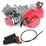 Wingsmoto 49cc 52cc Performance Motor 2-stroke Mini Dirt Bike ATV Engine with Gear Box 11T T8F Sprocket New Metal Recoil Racing Air Filter + Handle Bar + Throttle Cable