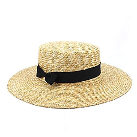 a9a559cda92 Amazon.com   ALWLj Women Summer Beach Sun Hats Flat Top Straw Hat Boater  Hats Bone Feminino Straw Hats Women Wide Brim for Girl   Sports   Outdoors