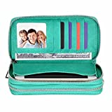 HAWEE Big Size Long Wallet for Woman Dual Zippered Clutch Purse Premium PU 5 Credit Card Slot 1 Smart Phone Slot 1 Coin Purse and Ample Compartments for Cash and Note, Turquoise