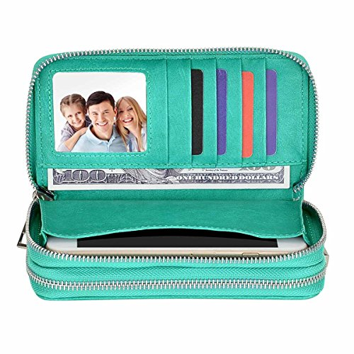 HAWEE Big Size Long Wallet for Woman Dual Zippered Clutch Purse Premium PU 5 Credit Card Slot 1 Smart Phone Slot 1 Coin Purse and Ample Compartments for Cash and Note, (Big Wallet)