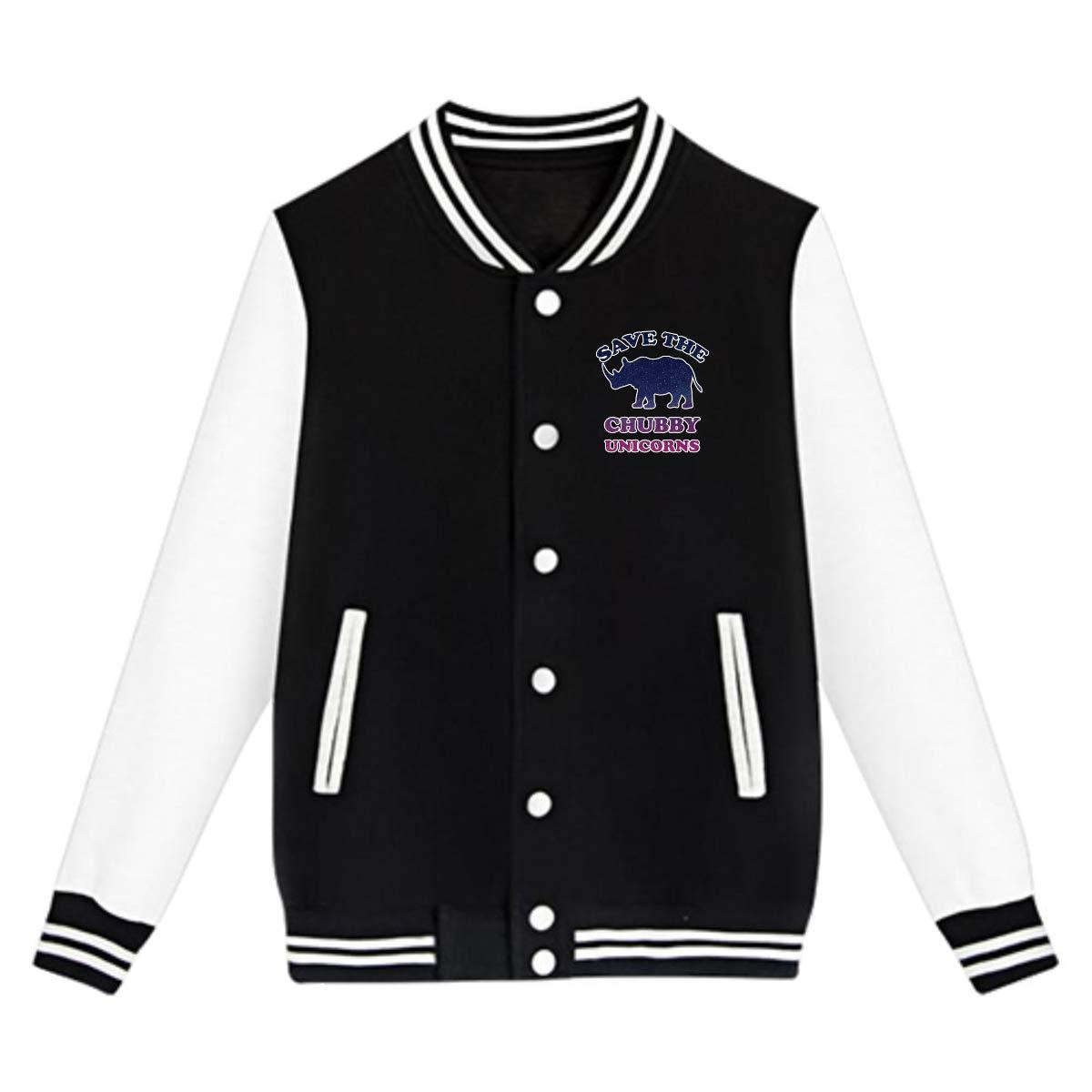 Tina TN Save The Chubby Unicorns Teens Boys Girl Varsity Baseball Jacket Long Sleeve Sport Baseball Uniform Jacket Coat Sweater Black