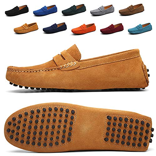 Ezkrwxn Men Penny Loafers Slip on Shoes Suede Leather Moccasins Driver Driving Shoes Fashion Office Business Casual Dress Shoes Plus Big Size Sneakers Lightbrown Size 10 (2088-Lightbrowm-44)