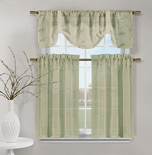 Videira Gold Leaf Embroidery Kitchen Curtain Set Valance Tiers (Sage Green)
