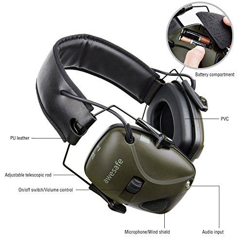 awesafe GF01L Protection auditive électronique pour les sports d'impact [Livré avec sac de transport rigide], Protège… 4
