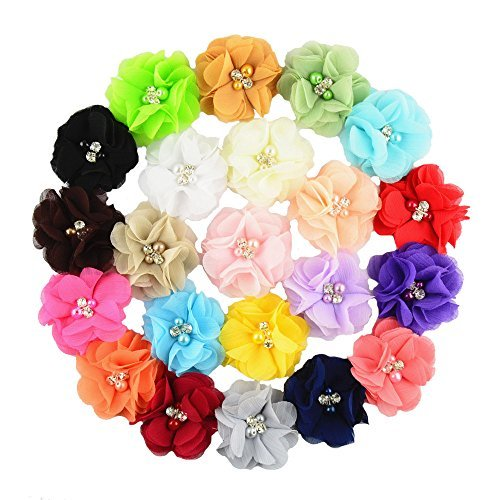 Aisila Pack of 22 2 Inch Handmade Rhinestone Chiffon Flowers without Clip for Baby Girl Headbands AIH005