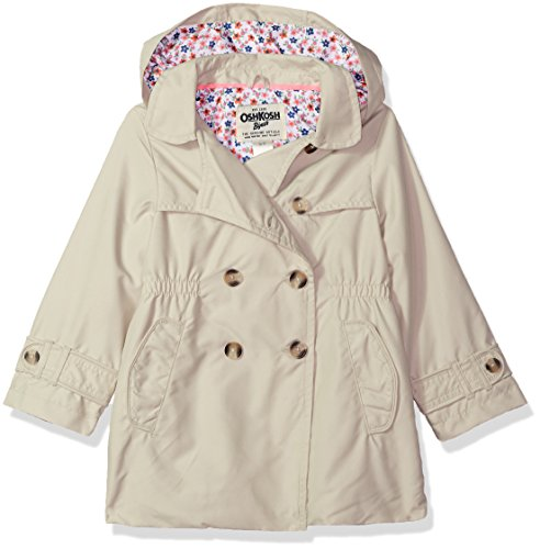 OshKosh B'Gosh Osh Kosh Toddler Girls' Hooded Trench Coat, Khaki Pebble, 3T by OshKosh B'Gosh