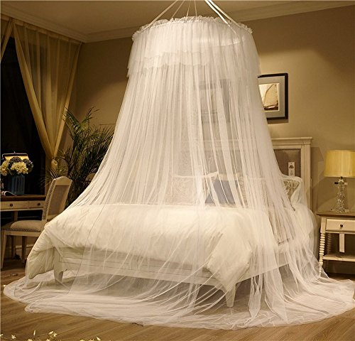Mengersi Mosquito Netting Bed Canopy Twin Full Queen/King Size Bed. Princess Girl Boy Bed (Round Canopy, White) ()