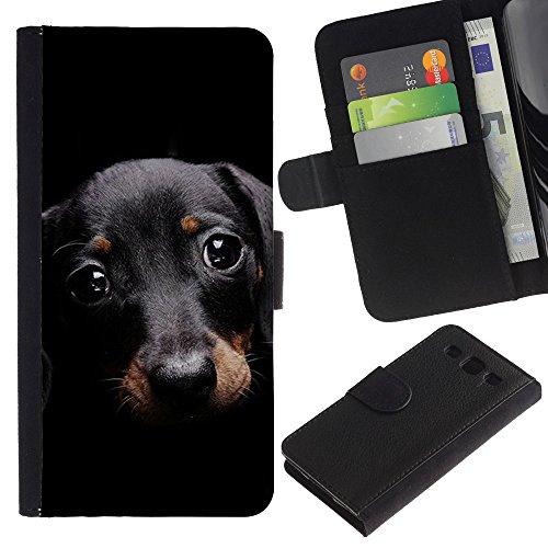 EuroCase - Samsung Galaxy S3 III I9300 - dachshund doxie small pet dog cute - Cuero PU Delgado caso cubierta Shell Armor Funda Case Cover