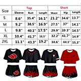 2 Piece Uchiha Outfits for Women Short Sleeve Crop Top and Short Pants Sets