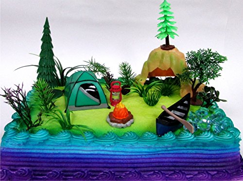 Nature Scene CAMPING 20 Piece Birthday CAKE Topper Set, Featuring Camping Items and Decorative Themed Accessories -