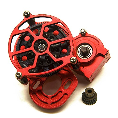 RCLions Aluminum Alloy Center Gearbox Transmission Case for Axial SCX10 AX10 1/10th RC Crawler Car (Red)