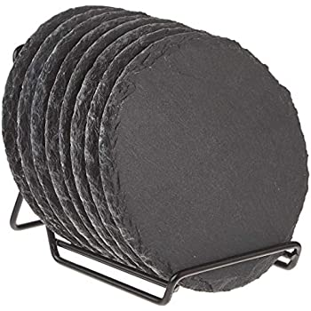 8-Pack Slate Stone Coasters Set with Steel Stand - Round Black Natural Edge Stone Drink Coasters for Bar and Home - 3.8 Inches in Diameter