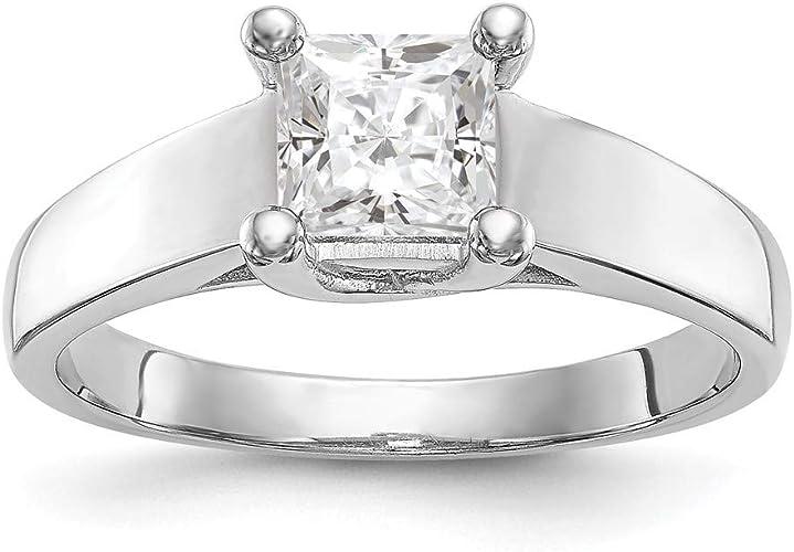 14k White Gold White Topaz Diamond Ring Size 7 Length Width 2
