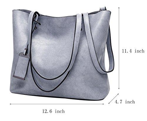 be893dc90730c ilishop Oil PU Leather Handbag Vintage Designer Purse Classical Tote Bag  Large Capacity Shoulder Bags (Blue). Blue