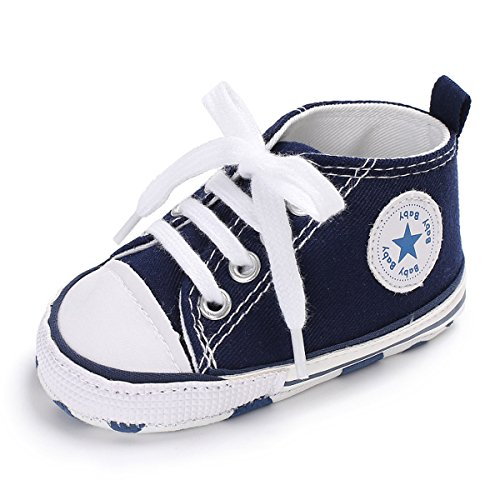 Unisex Baby Girls Boys Canvas Shoes Soft Sole Toddler First Walker Infant Sneaker Newborn Crib Shoes(Navy,12-18Month)