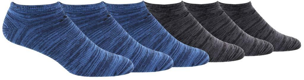 adidas Men's Superlite Low Cut Socks (6-Pair), Collegiate Navy - True Blue Space Dye/Black Black - On, Large, (Shoe Size 6-12) by adidas