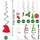 30 Pcs Christmas Hanging Swirl Decorations Party Swirls Foil Hanging Ceiling Décor Swirl Streamers with Cutouts of Christmas Trees Hats Snowmen Stockings Holly Leaves Merry Christmas Cards for Holiday Party Supplies Photo Booth Backdrop
