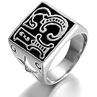 Kstyle Jewelry Heavy Vintage Stainless Steel Biker Men's Ring, Vintage, c