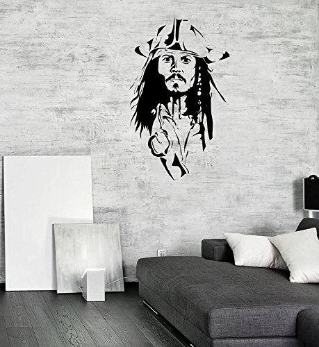 Pirates Of The Caribbean Animated (Jack Sparrow Wall Decal Pirates Of The Caribbean Sticker Children's Room Interior Decor Animated Vinyl Mural (1jksw) / Shipping from USA by Kellysdesigns /)