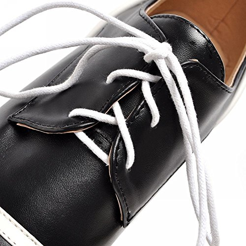 Carolbar Womens Lace-up Mode Kontrast Sömmar Populär Kilklack Oxfords Skor Svart