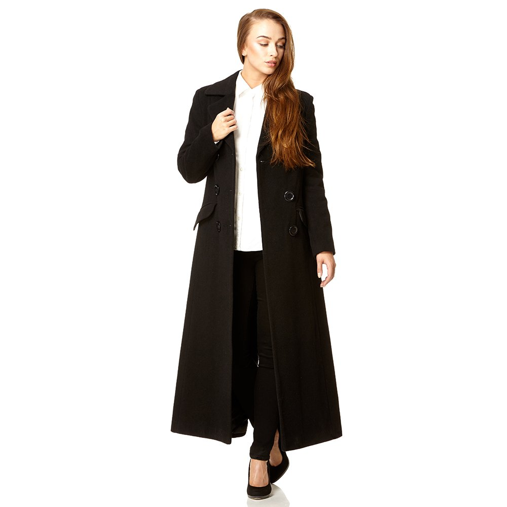 1fa0b6365 De la Crème Women`s Double Breated Fitted Long Coat - Stylo Coats ...