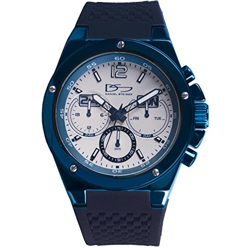 Louis Blues Heart Watch (Daniel Steiger Commander Blue Multi-function Quartz Watch - Precision Movement With Day, Date & 24 Hour Dials - Durable Textured Silicone Strap - 100M Water Resistant)