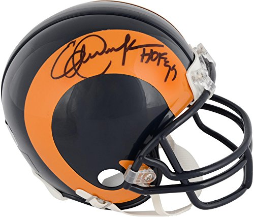 """Eric Dickerson Los Angeles Rams Throwback Autographed Riddell Mini Helmet with""""HOF 99"""" inscription - Fanatics Authentic Certified from Sports Memorabilia"""