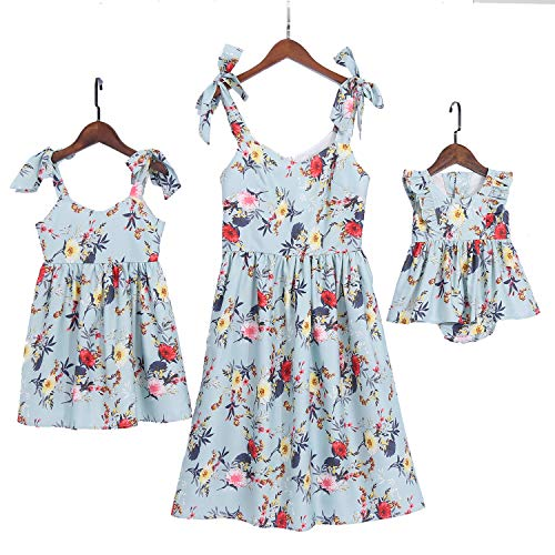 Mumetaz Mommy and Me Dresses Sweet Floral Print Bowknot Halter Shoulder-Straps Chiffon Dress Green