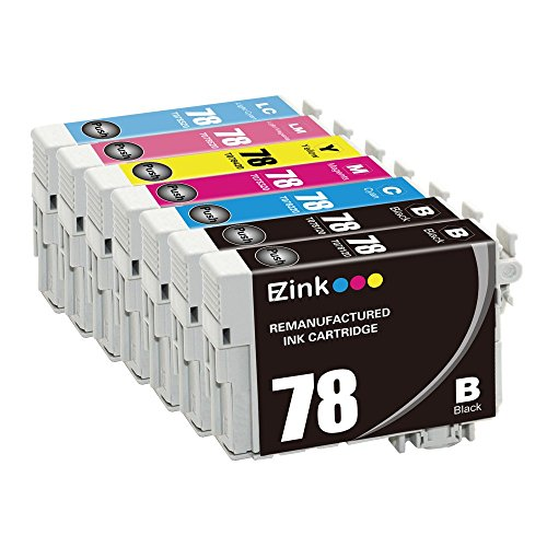 E-Z Ink (TM) Remanufactured Ink Cartridge Replacement for Epson 78 (2 Black, 1 Cyan, 1 Magenta, 1 Yellow, 1 Light Cyan, 1 Light Magenta) 7 Pack for Stylus Photo R260 R280 R380 RX580 RX595 RX680