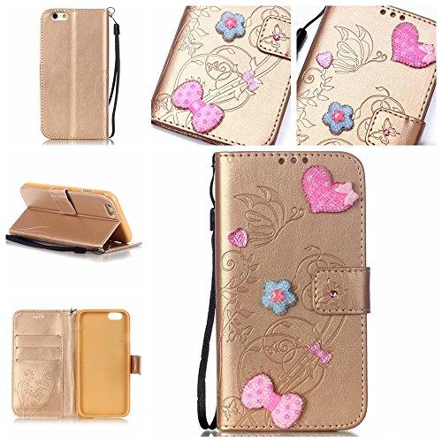 Meet de pour Apple iphone 6 / iphone 6S Folio Case ,Wallet flip étui en cuir / Pouch / Case / Holster / Wallet / Case, (série gaufré) Amour Bow forage autocollants décorés pour Apple iphone 6 / iphone