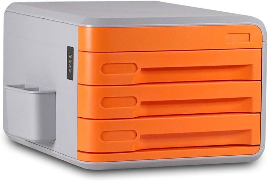 ファイルボックス デスクトップファイリングキャビネットファイル引き出しキャビネット情報パスワードロックオフィス用多目的 (色 : オレンジ)