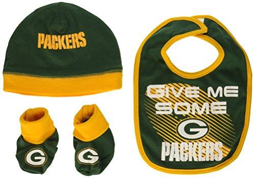 NFL Green Bay Packers Unisex-Baby Cap, Bootie & Bib Set, Green, 0-6 (Best Gerber Girls Socks)
