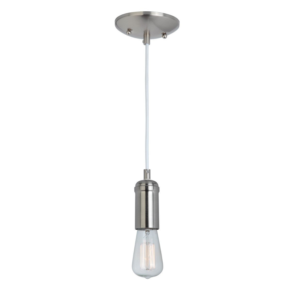 Globe Electric 1-Light Vintage Edison Mini Pendant, White Designer Woven Fabric Cord, Brushed Steel Finish, 65181